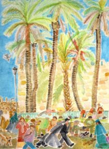 Old City walls, Jerusalem, Palm trees